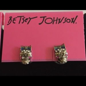 Betsey Johnson Bow Wearing Skull Stud Earrings